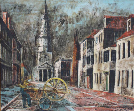 Church Street, Charleston, 1944, by Karl Zerbe (American, 1903 – 1972), encaustic on canvas, museum purchase, 2009.008