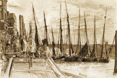 Billingsgate, 1859, by James McNeill Whistler (American, 1834 – 1903), etching on paper, gift of Dr. and Mrs. (Caroline) Anton Vreede, 2004.004.0007
