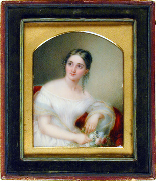Miniature portrait of Mrs. Nathaniel Russell Middleton (Anna Elizabeth De Wolf) currently on loan to The Charleston Museum