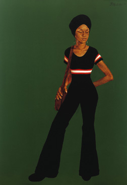 Ms. Johnson (Estelle), 1972, by Barkley Hendricks (American, b. 1945), oil and acrylic on linen canvas, museum purchase with funds provided by the National Endowment for the Arts Living Artist Fund, 1974.006