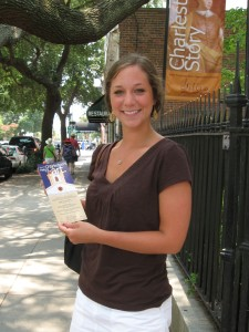 Laura Kovalsky, Gibbes Museum summer intern, en route to distribute museum rack cards.