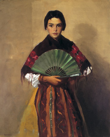 The Green Fan (Girl of Toledo, Spain), 1912, by Robert Henri