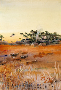 Cattle in the Broom Grass, An Autumn Evening, ca. 1935, by Alice Ravenel Huger Smith