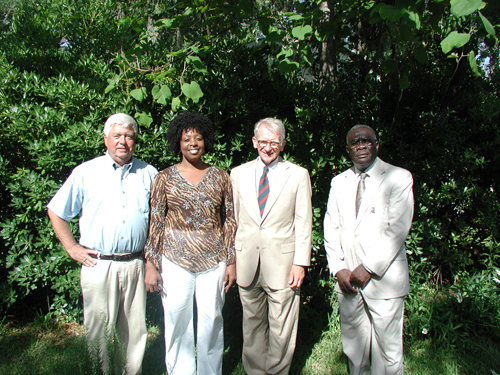 McClellanville Mayor Rutledge Leland, Dr. Yvonne Commodore, principal of Lincoln Middle-High School, Charleston Mayor Joseph Riley, and Awendaw Mayor Sam Robinson