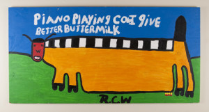 Piano Playing Cow I Give Better Buttermilk, by Ruby C. Williams (American, b.1920s)