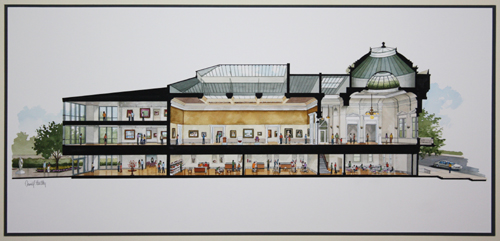 Longitudinal Cross-section of the new Gibbes Museum