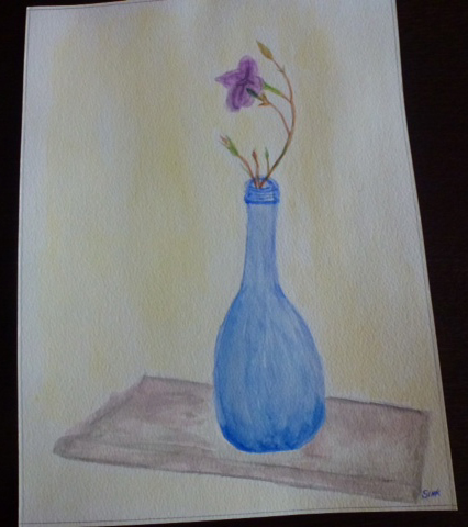 Jeannette's painting of a still life with blue vase and purple flower