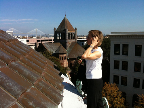 Lighting designer Anita Jorgensen on the roof of the Gibbes Museum.