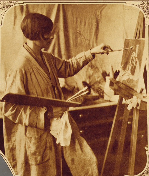 Minnie Mikell at work in the Gibbes Art Studio Gallery, 1925