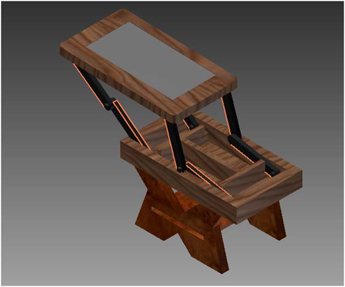 A digital image of the coffee table inspired by the visual arts student's sketch and was created by an engineering student using the program Inventor.