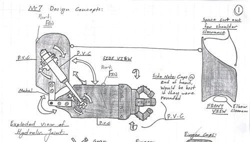 Detail from a mechanical drawing shows the design of a mechanical arm.