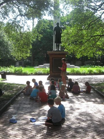 Campers take an outing to Washington Park for plein-air painting.