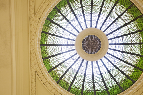 The stained-glass dome above the Rotunda gallery.