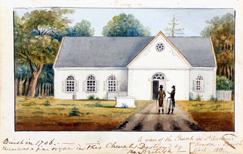 A View of the Church in Saint Andrew's Parish, from untitled sketchbook, 1796–1805, by Charles Fraser (American, 1782–1860)