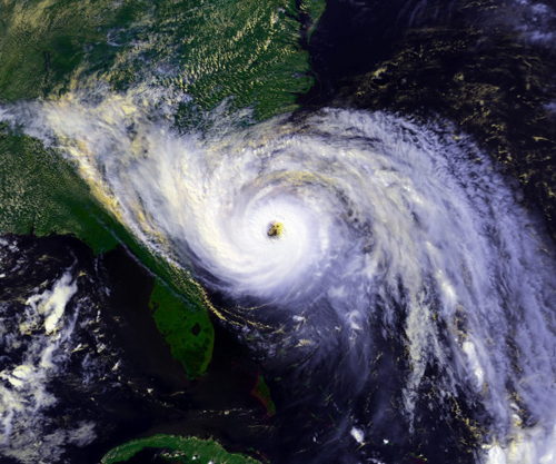 A satellite image of Hurricane Hugo, September 21, 1989.