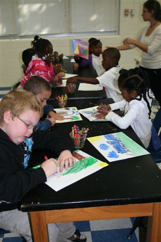 Students at Mt. Zion Elementary enjoy the Art to Go program.