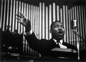 Dr. Martin Luther King, Jr., Addresses Rally, Sixteenth Street Baptist Church, 1963, by James Karales (American, 1930–2002). Image © Courtesy of the Estate of James Karales