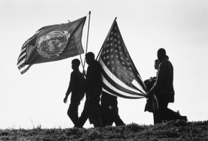 Flag-Bearing Marchers, Selma to Montgomery March, 1965, by James Karales