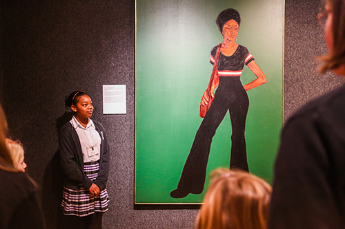 Mrs. Johnson (Estelle), by Barkley Hendricks, is the featured artwork in this presentation.