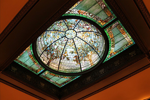 The stained glass dome in the Driehaus Museum, attributed to Giannini & Hilgart.
