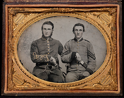 "Unknown photographer, [Captain Charles A. and Sergeant John M. Hawkins, Company E, ""Tom Cobb Infantry,"" Thirty-eighth Regiment, Georgia Volunteer Infantry], 1861–62; Quarter-plate ambrotype with applied color; David Wynn Vaughan Collection."