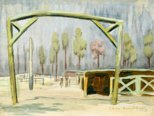 Gateway to Mule Stables [Camp Jackson, South Carolina], 1918, by Charles Burchfield (American, 1893–1967)