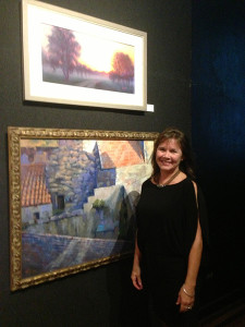 "Tammy Papa at the National Arts Club in New York. The artist's pastel painting, ""Morning Mist on the Edisto"" (above) was included in the Pastel Society of America's 41st Annual Open Juried Exhibition in 2013."