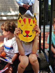 Creative campers posing with their masks!