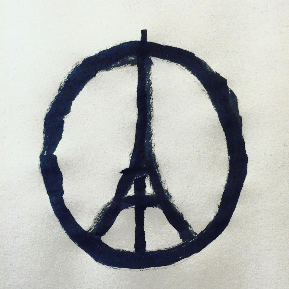 Image by Jean Jullien in response to the November 2015 terrorist attacks in Paris, France.