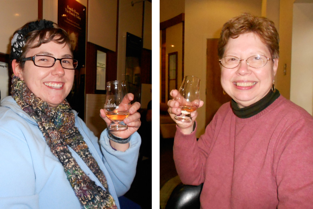 Aunt Julie and Becca enjoying a whisky tasting at the Glenfiddich Distillery in Scotland.