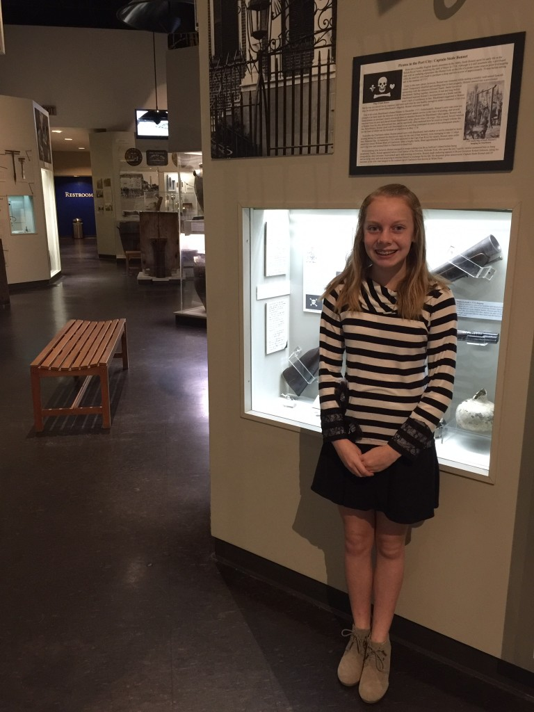 Ainslee Newman presents to classmates at the Charleston Museum.