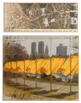 Christo: The Gates, Central Park, New York City, 1996, Collage in two parts, pencil, fabric, pastel, charcoal, wax crayon, and aerial photograph, © Christo 1996