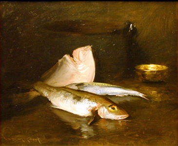 Still Life with Fish, 1903, by William Merritt Chase (American, 1849 – 1916). Oil on canvas. Gibbes Museum of Art, Gift of Anna Heyward Taylor 1947.011.0001