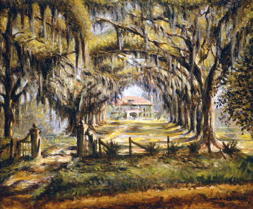 Boone Hall Plantation, ca. 1925, by Edwin Harleston (American, 1882 – 1931). Oil on canvas. Gibbes Museum of Art, Gift of Mr. and Mrs. H. Harleston Fleming (1997.009).