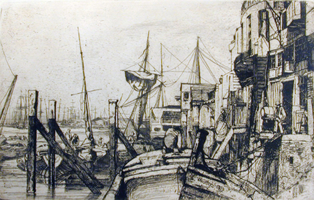 Limehouse, 1859, by James McNeill Whistler (American, 1834 – 1903). Etching on paper. Gibbes Museum of Art, Gift of Dr. and Mrs. Anton Vreede (2004.004.0003)