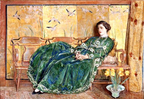 <em>April (The Green Gown)</em>, 1920, By Childe Hassam (American, 1859 – 1935). Oil on canvas; 56 x 82 1/4 in. Gibbes Museum of Art, Gift of Mr. and Mrs. Archer Huntington (1936.09.01).