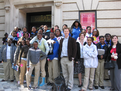 Poets in Schools students from Burke High School visit the Gibbes Museum.