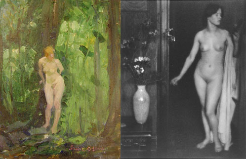 Iaida, by Isabel Cohen Doud, and Nude Woman and Vase of Flowers: Miss Thompson, by Clarence H. White