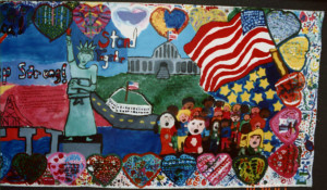 Porter-Gaud School Student Mural, Pledge of Allegiance detail