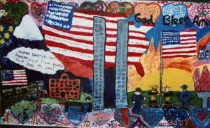 Porter-Gaud School Student Mural, Twin Tower detail