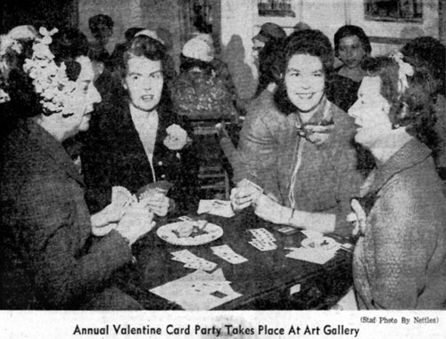Members at the Annual Valentine's Day Card Party, 1961.