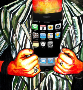 iPod Addict was created by an Advanced Placement Studio Art student illustrating the concept of our addictions to technology.