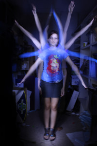This image, entitled Light Art, shows a student experimenting with time exposure in photography.