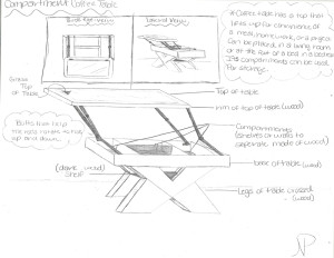 This sketch illustrates a coffee table designed by a visual arts student.