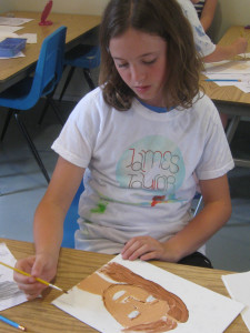 Eliza paints a self-portrait after studying Egyptian mummy portraits.