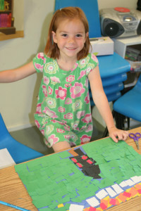 "Ella creates a mosaic based on ancient Roman designs during ""Art of the Ancient World."""
