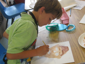 Gray paints a self-portrait in the style of Egyptian mummy portraits.