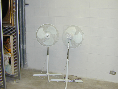 Fans are available to circulate air if the building loses climate control.