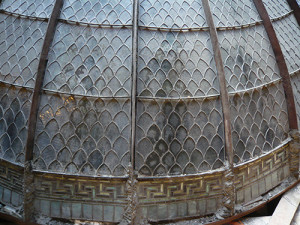 A view above the dome shows the ribs and cross bars that support the glass panels.