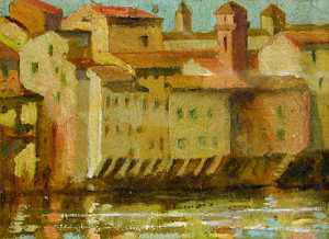 On the Arno, Florence, by Emma S. Gilchrist (American, 1862 - 1929)